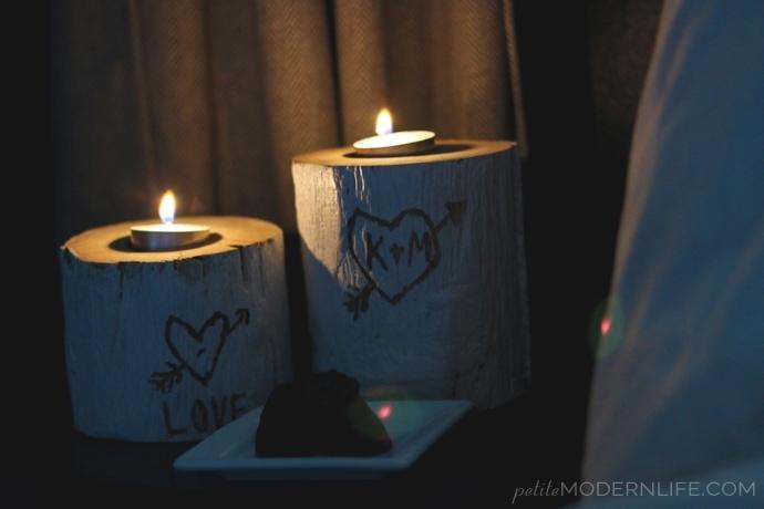 DIY Valentines Logs Candle Holder