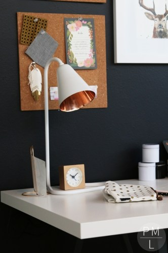 This modern office makeover is brimming with DIY projects, simple Ikea organizers, and eye catching accents! So much inspiration in one place!