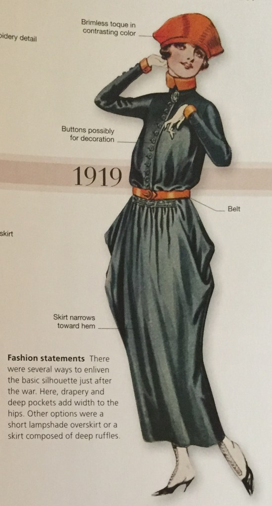 "Photo of a model in a dress from 1919 from page 241 in the book ""Fashion: The Definitive History of Costume and Style"""
