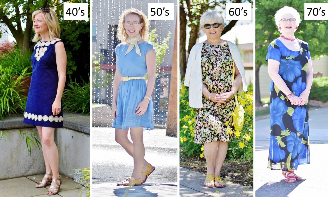 4 women ranging in age from 40s to 70s style sundresses
