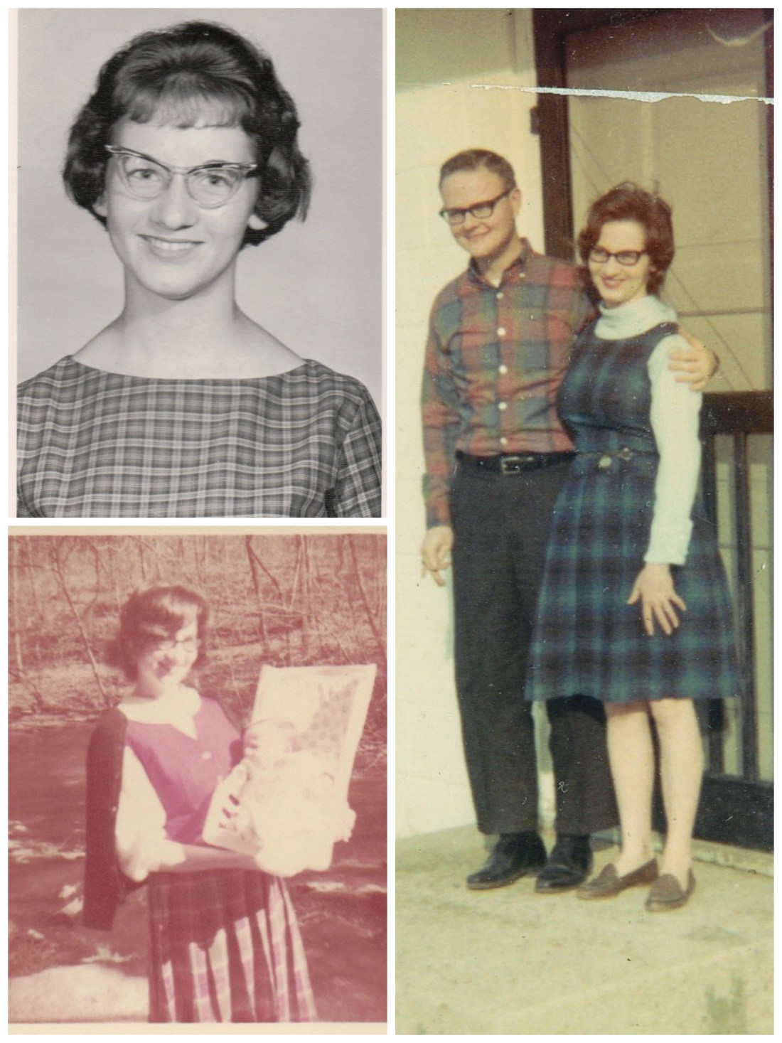 Photos of my mom wearing plaid, going back to her college days and her first days as a young mother.