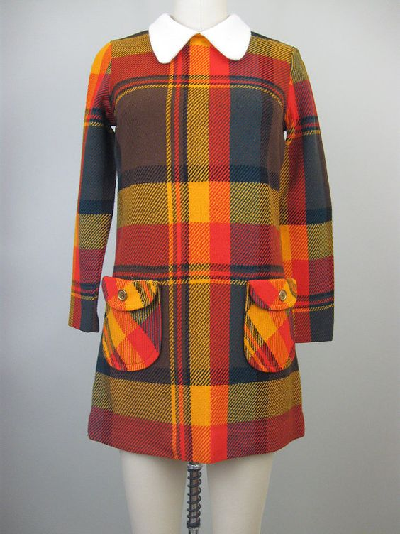 Plaid dress from the 1960s 1970s.