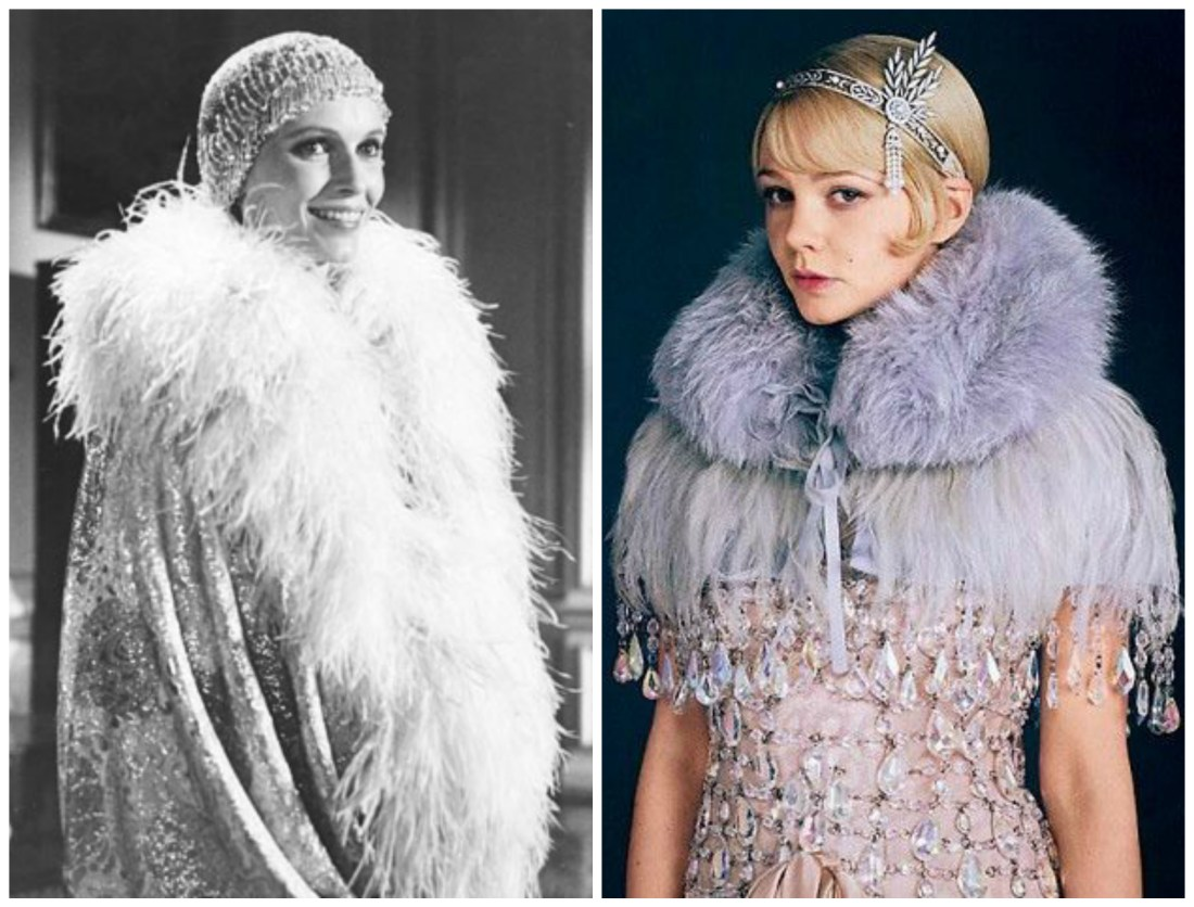 Collage of Daisy Buchanan as played in movies by Mia Farrow and Carey Mulligan.
