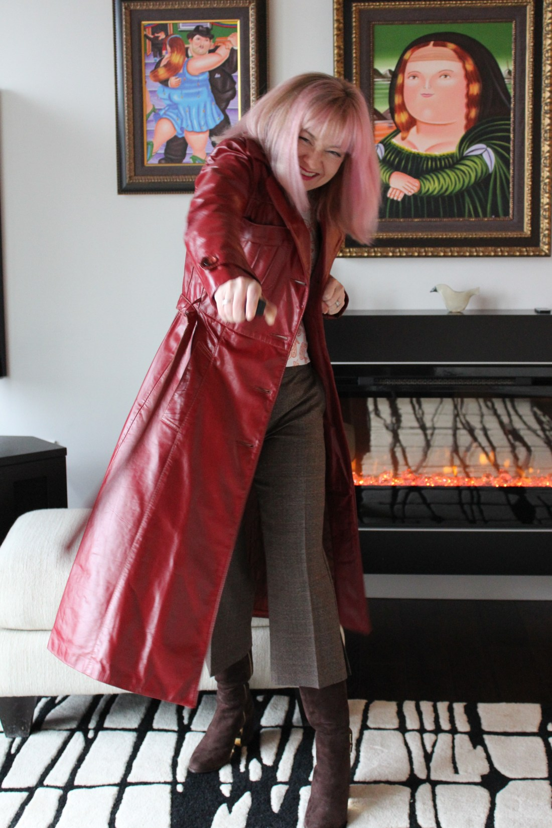 New Adventures in Red Leather Trench Coat