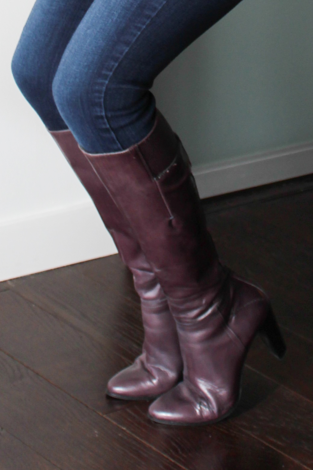 knee-high purple boots, skinny jeans pared up with Gunne Sax jacket and lace top