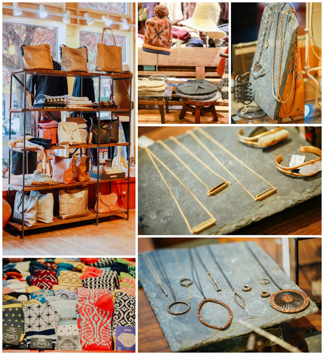 Handbags, jewelry, hats, and socks at Endless Knot in Seattle.