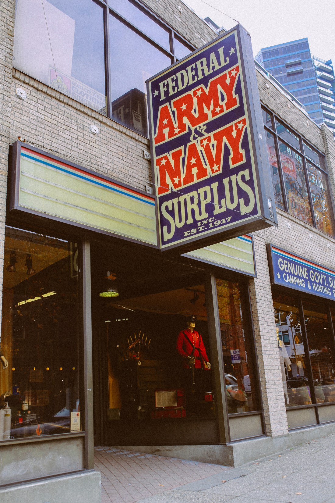 Storefront of Federal Army & Navy Surplus in Seattle