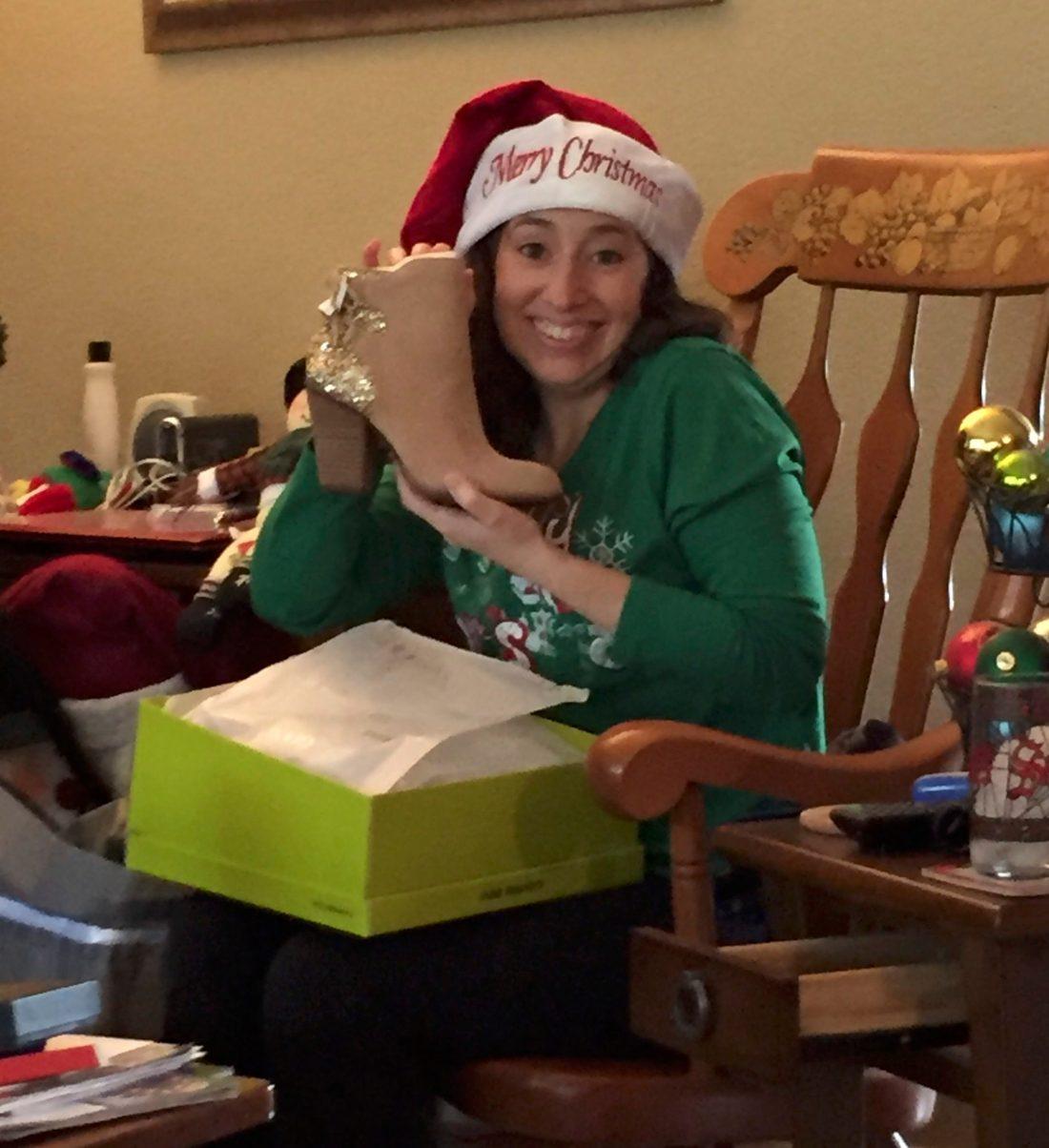 Santa hat and high-heeled boots.