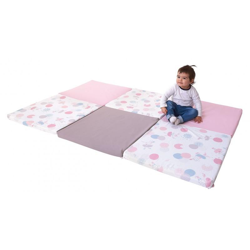 grand tapis d eveil pliable confortable et assemble en france coloris rose