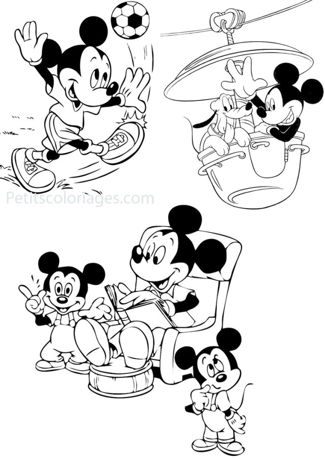 24 coloriages mickey disney, mickey, manège, histoire, ballon foot