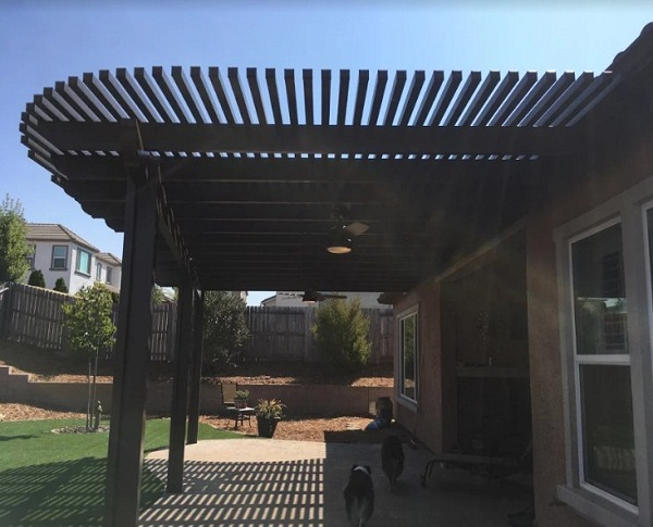 mount attached under eave patio cover