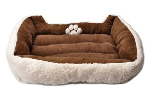 6 HappyCare Textiles Rectangle Pet Bed With Dog Paw Printing