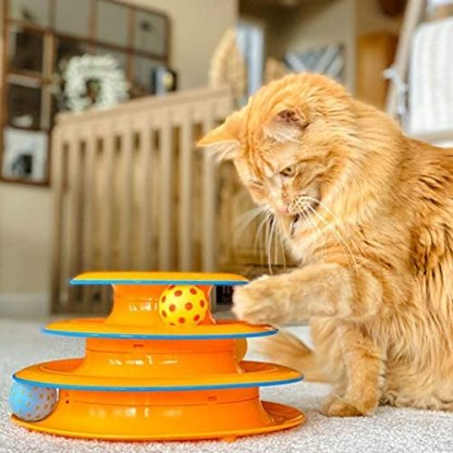 Petstages Cat Tracks Cat Toy - Fun Levels of Interactive Play - Circle Track with Moving Balls Satisfies Kitty's Hunting, Chasing and Exercising Needs
