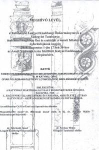 meghívó levél Katyni emlékoszlop leleplezésére