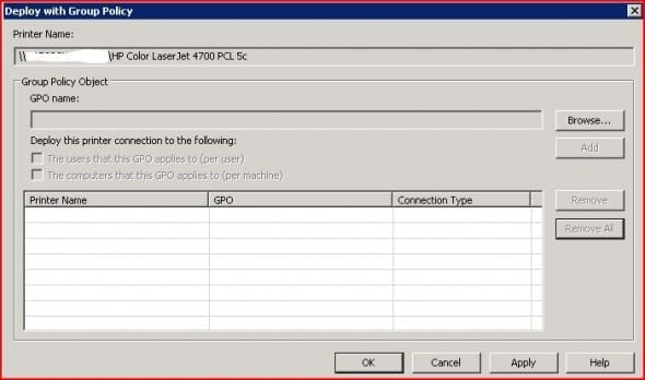 Add printer to Group Policy Object