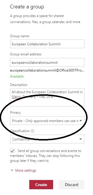 OWA create new Office 365 Group