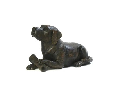 Dog with Bone Urn – Bronze