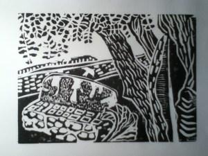 Rough Proof of Bench by Len Lye. Robert Graves's garden