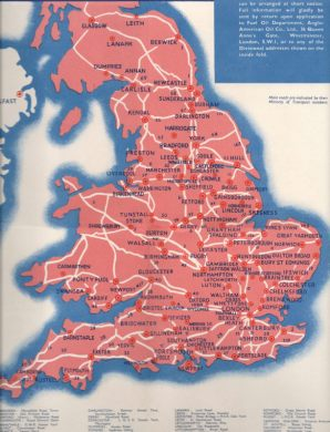 1930s Diesel Road maps of Great Britain Southeast England from the Pratts map  Click for expanded area