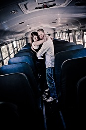 Man and woman hugging in school bus  at Brookside Gardens in Wheaton MD