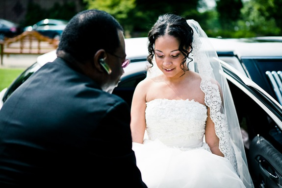 bride getting out of limo at the Newton White Mansion in Mitchellville MD