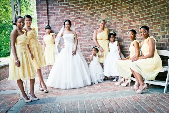 bride and bridesmaids at the Newton White Mansion in Mitchellville MD