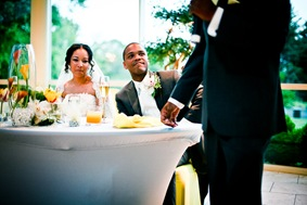 bride and groom listening to toast at the Newton White Mansion in Mitchellville MD