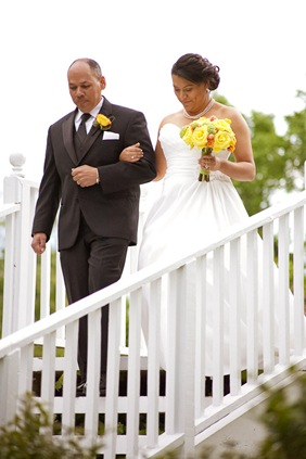 bride walking down isle at Mt. Airy Mansion in Upper Marlboro Maryland