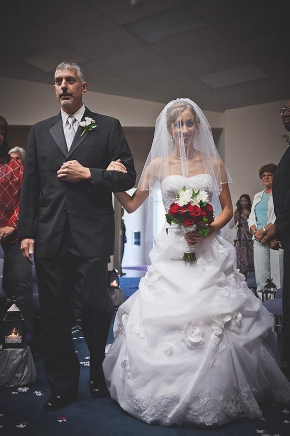 bride walking down isle in Mechanicsville MD