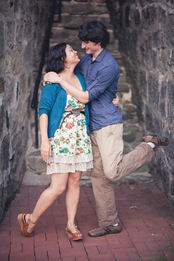 cute couple's engagement photos  in Historic Ellicott City