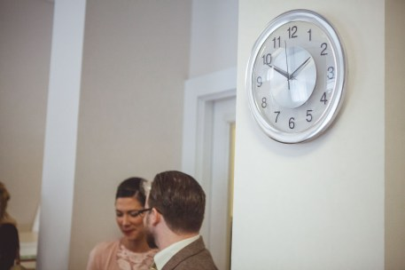 A clock on the wall before the elopement