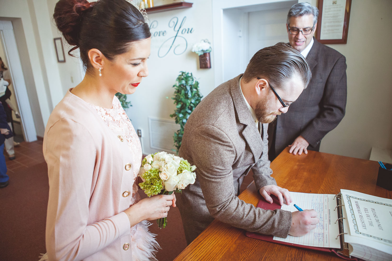 Signing in before elopement ceremony