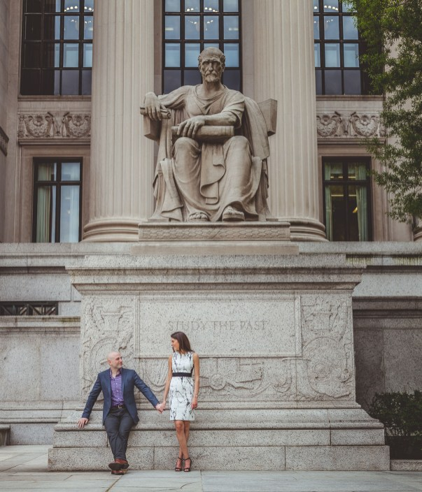 Engaged couple outside the National Archives in DC.