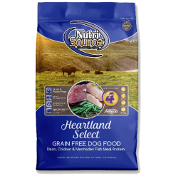 NutriSource Dog Food, Grain Free, Heartland Select.