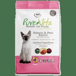 NutriSource Pure Vita Cat Food, Grain Free, Salmon and Pea Entree.