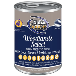 NutriSource Dog Canned Woodland Select 13oz Case.