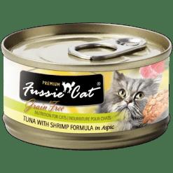 Fussie Cat Premium Tuna with Shrimp Canned Food.