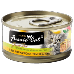 Fussie Cat Premium Tuna with Anchovies canned food.