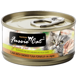 Fussie Cat Premium Tuna with Smoked Tuna Canned Food.