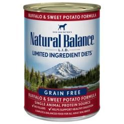 Natural Balance L.I.D. Buffalo & Sweet Potatoes Formula Grain-Free Canned Dog Food, 13-oz Can, Case of 12