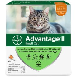Advantage II Flea Treatment for Small Cats 5 lbs to 9 lbs, 4 Pack.