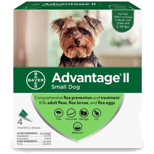 Advantage II Flea Treatment for Small Dogs 3-10 lbs 4 Pack.