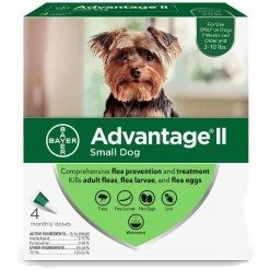Advantage II Flea Treatment for Small Dogs 3-10 lbs 4 Pack.