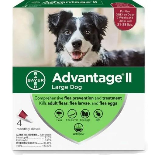 Advantage II Flea Treatment for Large Dogs 21-55 lbs 4 Pack.