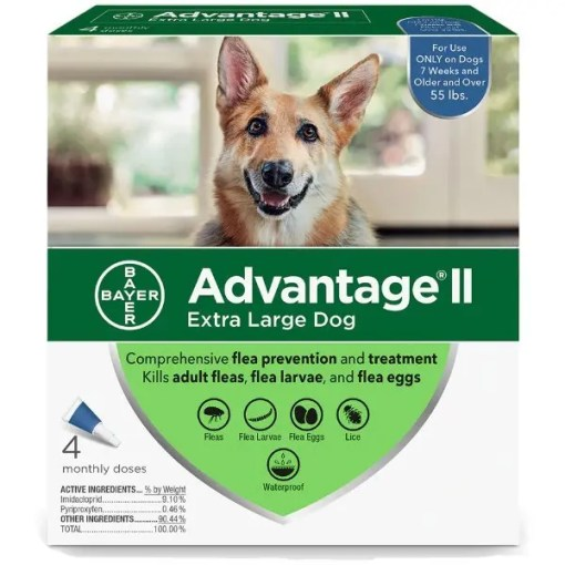 Advantage II Flea Treatment for Extra Large Dogs Over 55 lbs, 4 Pack.