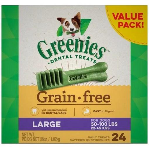Greenies Grain Free Large Dental Dog Treats, 24 Treat Box.