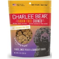 Charlee Bear Natural Bear Crunch Turkey, Sweet Potato & Cranberry Grain-Free Dog Treats, 8-oz bag.