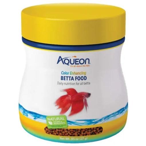 Aqueon Color Enhancing Betta Fish Food, 0.95-oz Bottle.