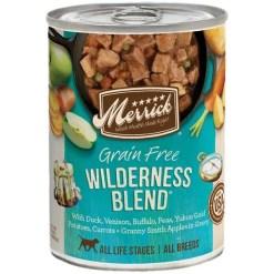 Merrick Grain-Free Wilderness Blend Canned Dog Food, 12.7-oz Can.