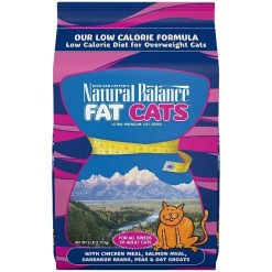 Natural Balance Fat Cats with Chicken Meal, Salmon Meal, & Oatmeal Dry Cat Food, 6-lb Bag.